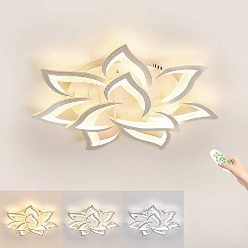 Moderna Plafoniera LED, Dimmerabili Creativa Petalo Lampada da Soffitto, 3000K - 6000K, 10 Luci Φ85 60W 6000lm, Pannello acrilico Luci di Soffitto Soggiorno, Camera da Letto [Classe energetica A ++]