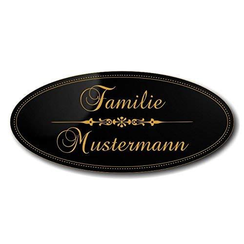 Türschild, Briefkastenschild, Klingelschild, 70-300-013-SG, Acryl, Oberfläche schwarz glänzend, Gravur Gold, individuell anpassbar