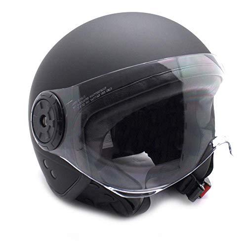 E-NUC Gran Scooter Accesories CASCO MOTO JET (Con gafas Protectoras, homologado, forro agradable y extraíble) Talla M - Negro