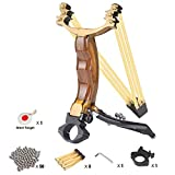 ALPEKE Professional Slingshots for Hunting, Outdoor Catapult Slingshot for Adults, High Velocity Wrist Rocket Sling Shots with 3 Rubber Bands Replacement, 50 Steel Slingshot Ammo and 1 Steel Target
