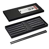 AOOSY 5 pares de palillos de fibra de vidrio aptos para lavavajillas, palillos japoneses Palillos negros de aleación reutilizable Palillos negros Juego de palillos antideslizantes de sushi negro