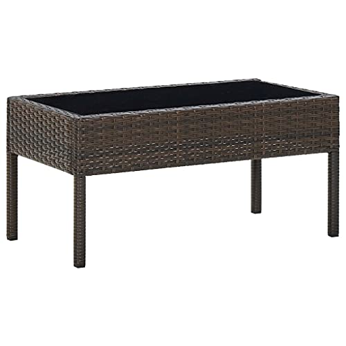 vidaXL Garden Table Outdoor Furniture Backyard Patio Bistro Terrace Accent End Couch Coffee Side Tea Table Brown 75x40x37 cm Poly Rattan