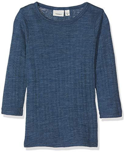 Name It Nmmwang Wool Needle Ls Top Noos T-Shirt À Manches Longues, Bleu (Ensign Blue), 86 Bébé garçon