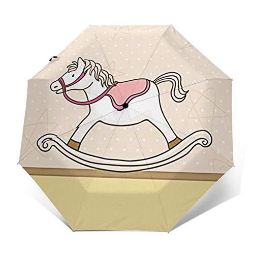Paraguas Plegable Automático Impermeable Caballo Mecedora Rosa bebé, Paraguas De Viaje Compacto a Prueba De Viento, Folding Umbrella, Dosel Reforzado, Mango Ergonómico
