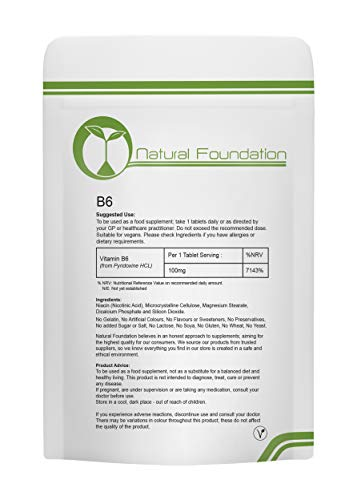 Vitamin B6 Tablets 100mg Supplements for High Metabolism & Immune System Health and Fatigue & Tiredness Reduction | Natural Foundation Supplements (500)