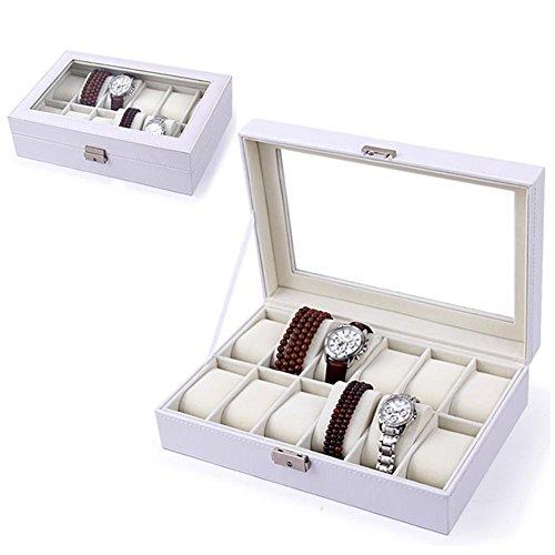 Porta orologi Amzdeal 12 Grid Porta orologio in pelle porta organizer per orologio in vetro Porta orologi custodia per uomo e donna, bianco