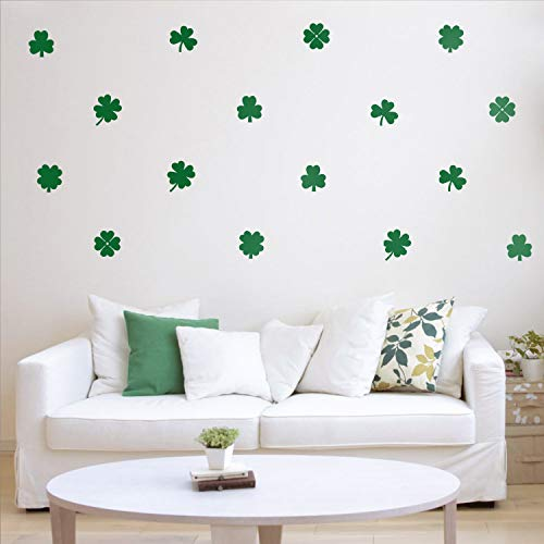 Set of 15 St Patrick's Day Vinyl Wall Art Decals - 3 and 4 Leaf Clovers - 5' x 5' Each - St Patty's Holiday Modern Home Living Room Bedroom Apartment Indoor Office Work Decor