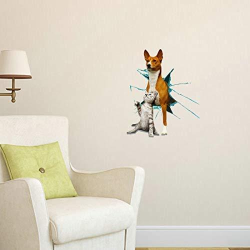 Pegatinas de pared Pintura decorativos etiqueta de perro y gato 3D Habitación Sala decoración casera de la pared tridimensional (Tamaño: 70 x 58 x 0,3 cm)
