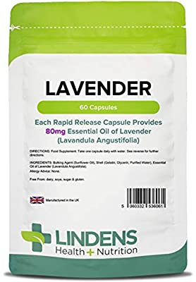 Lindens Lavender Essential Oil 80mg Capsules | 60 Pack | Rapid Release in A Convenient Softgel Capsule Has A Long Standing Association with Relaxation