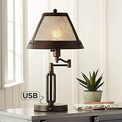 Samuel Traditional Desk Table Lamp Swing Arm with Hotel Style USB Charging Port Bronze Natural Mica Shade for Bedroom Office - Franklin Iron Works