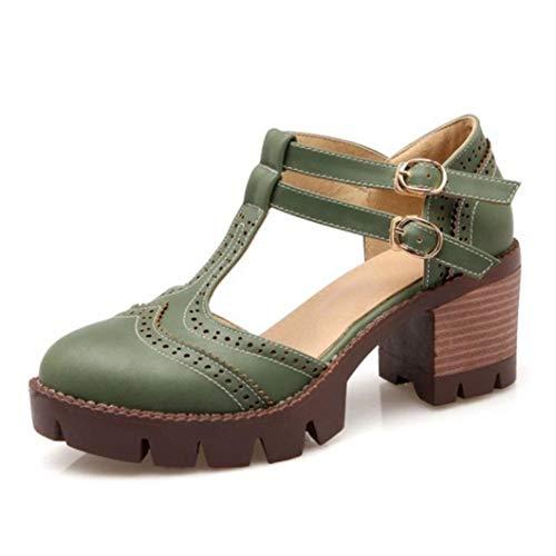 Las Mujeres Sandalias de tacón Cuadrado de Verano T-Correa de la Plataforma del Dedo del pie Cerca del Calzado del Baile Que Data Ocio Señoras Hebilla del Tobillo Correa Shoses
