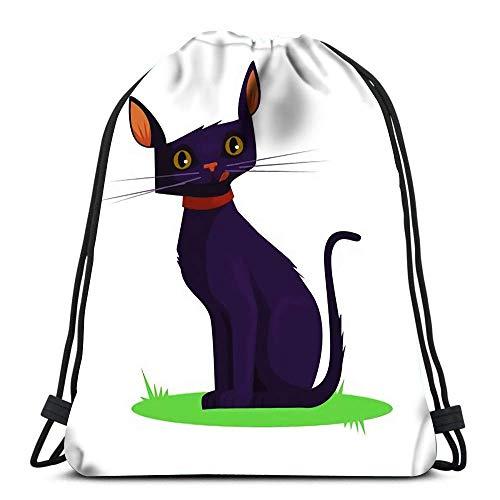 JDHFJ Bolsa con cordón Drawstring Backpack Dark Cat Flat Cartoon Durable for Carrying Around