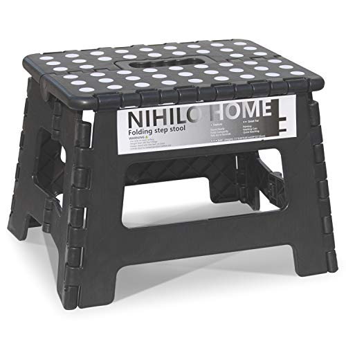 9#039#039 Folding Step Stool Black with Carrying Handle for Adults and Safe Enough for Kids NonSlip Study Foldable Space Saving Design Holds Up to 300 Punds