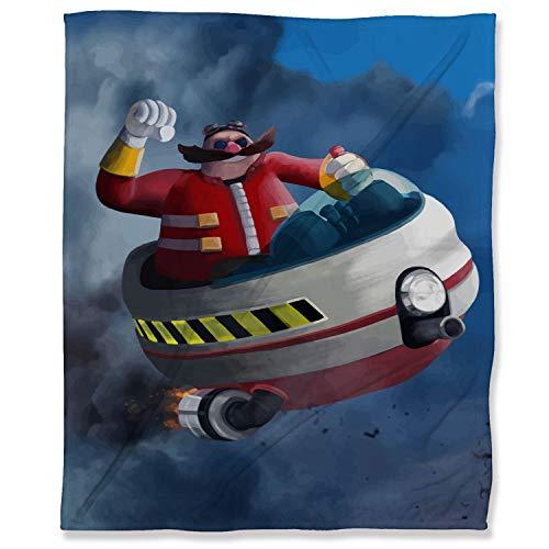 ARYAGO - Manta de forro polar suave, 180 x 230 cm, Sonic the Hedgehog Fuzzy franela manta manta para cama sofá de viaje, sofá de viaje Dr Eggman