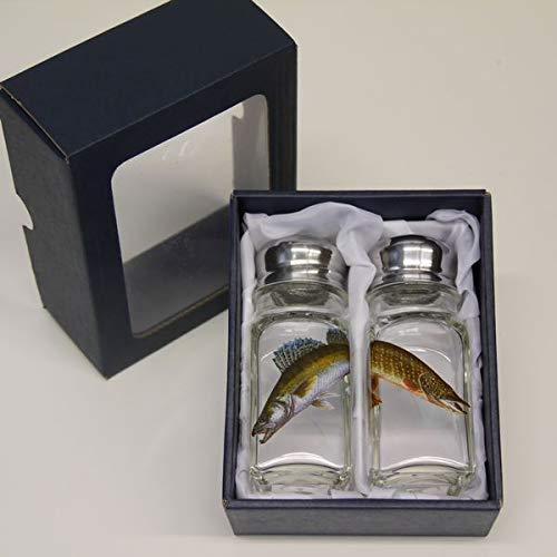 GTK - Gewei & trofee kroomhout zout & peper strooier set met gekleurd motief vis snoek en snoek