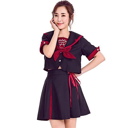 QZ Niñas de la Escuela Japonesa Uniforme de Marinero Falda Plisada Disfraces de Cosplay de Anime Traje de Lolita de Cintura Alta,S
