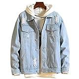 ZAFUL Casual Ripped Denim Jacket Unisex Long Sleeves Cotton Cropped Jean Jacket Coat