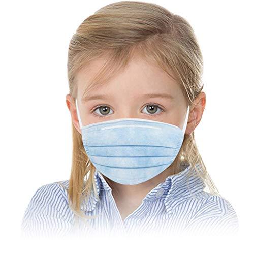 MINGGER Protection Faciale Jetable Pour Enfants En Plein Air Tissu Non Tissé à Trois Couches Tissu Soufflé Par Fusion (Blue 50PC)