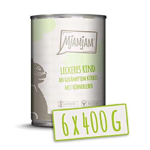 MjAMjAM - Premium Nassfutter für Katzen - leckeres Rind an gedämpftem Kürbis, 6er Pack (6 x 400 g), getreidefrei mit extra viel Fleisch