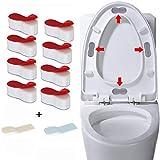 OBSGUMU Paracolpi per Sedile WC per Bidet (confezione da 8), Paracolpi Universale per Sedile WC Coperchio WC in Gomma e 2 Pezzi di Sollevamento Sedile WC per Attacco Bidet, con Adesivo Forte