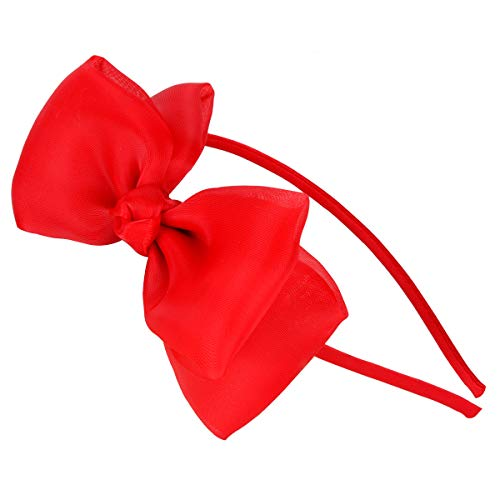 HoveBeaty Bow Hairband Soft Elastic Lace Bowknot Headband for Women and Girls, Perfect Hair Accessories for Party and Cosplay (Red)