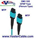 MTP/MTP Patch Cable 12 Fiber, 40GbE, OM3 Plenum-Rated - Aqua, (PinOut - UP to Down) 1 Meter