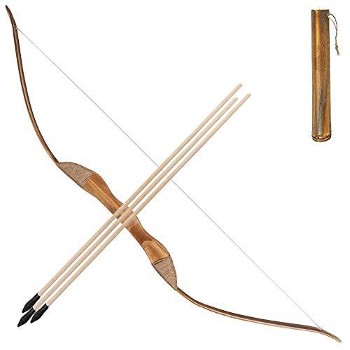 Toparchery Bogen und Pfeil Set für Kinder-, Bambus-Langbögen und Holzpfeile 3er für Outdoor-Spiele