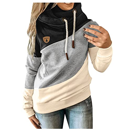 Fxkareiten Sudadera con capucha para mujer, moderna, con cordón, para el tiempo libre, bloque de colores, patchwork, con bolsillo, blusa, informal, elegante, Negro , XXXL