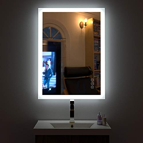 HAUSCHEN 32x24 inch LED Lighted Bathroom Wall Mounted Mirror with High Lumen+CRI -