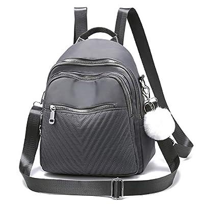 Women Backpack Purse Mini Backpacks for Girls Waterproof Nylon Shoulder Bag (Dark Grey)