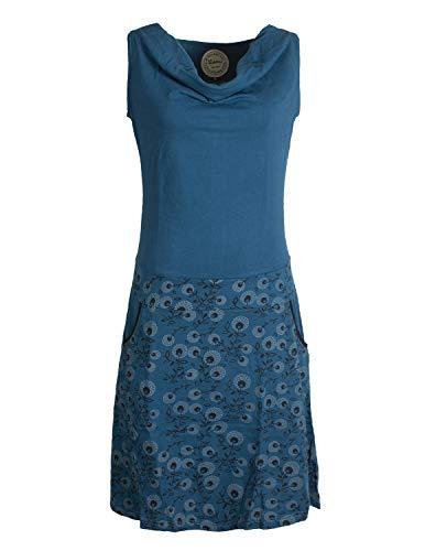 Vishes - Alternative Bekleidung - Damen Baumwoll-Kleid, Blumen-Muster, Wasserfall-Kragen und Taschen türkis 40