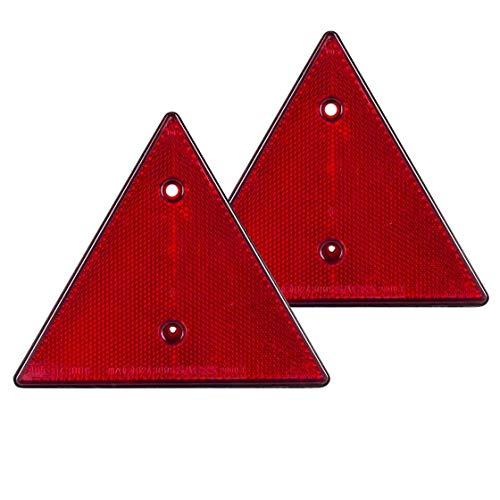 Dreieckrückstrahler   mit 2 Löchern   15 cm   zum anschrauben   2 Stück   Reflektor   Anhängerstrahler   Anhängerrückstrahler   Katzenauge   Rückstrahler   Wohnwagen   Anhänger   KFZ