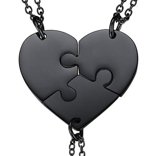 U7 Corazón Roto 3 Unidades Collar BFF Mejores Amigas para Siempre con Patrón de Corazón Collar Creativo Regalo para Amigas