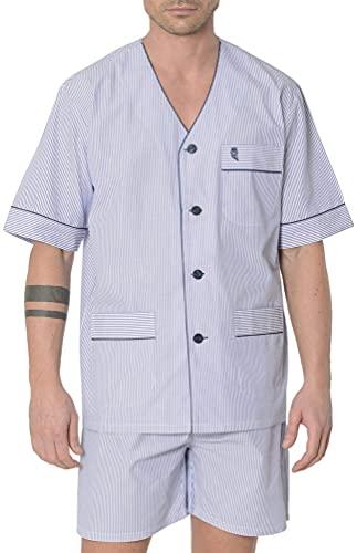 El Búho Nocturno - Pijama Hombre Corto Popelín Rayas Marino 60% algodón 40% poliéster Talla 5 (XL)