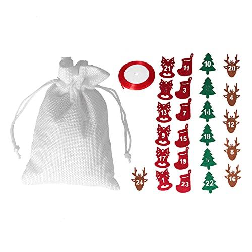 Klasse Geschenke, Exquisite Weihnachtsgeschenktüten mit niedlichen 24 Stück Zahlenpapieren zum Aufhängen an der Wand/Weihnachtsbaum/Tür/Kaminsims oder Kamin