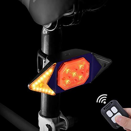 Luz de giro de bicicleta con control remoto inalámbrico, Luz trasera para bicicleta con señal de giro para ciclismo, luz estroboscópica de advertencia de seguridad trasera con 5 modos de luz (Azul)