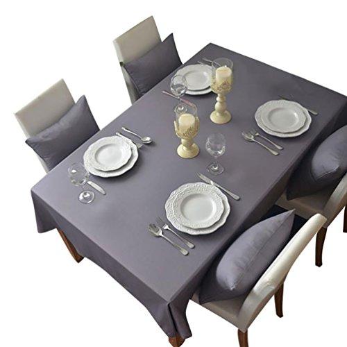 NiSeng Tovaglia da tavola in poliestere, Tovaglie Antimacchia Tovagliato ristorazione Tovaglia a quadri rettangolare tinta unita Grigio 90x90 cm
