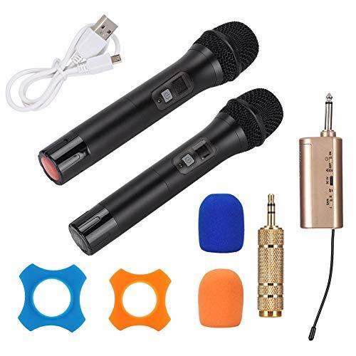 Microfoon, handmicrofoon, 1-op-2 draagbare UHF handheld draadloze microfoon, met mini-Bluetooth-ontvanger, met het sterke anti-interferentievermogen(Zwart)