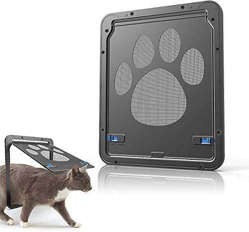 ZB ZealBoom Katzenklappe Hundeklappen Haustierklappe Bildschirm Tür Abschließbar Einfache Installation Genug Freiheit für Katze und Kleinen Hund, Insektenschutz Moskitoschutz-Zubehör für Katzen