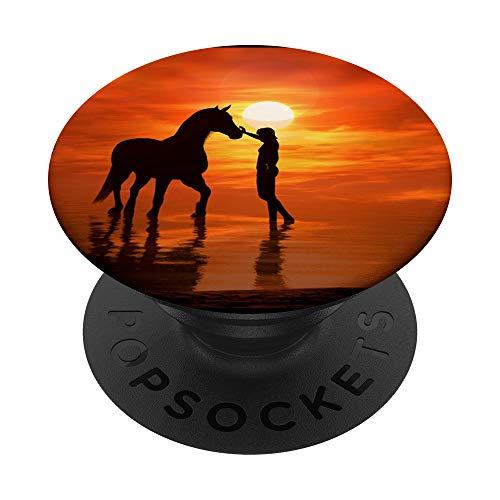 Pferd Pony Horse Hengst Reiten Reiter Wasser Sonnenuntergang PopSockets PopGrip: Ausziehbarer Sockel und Griff für Handys/Tablets mit Tauschbarem Top