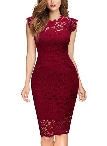 MIUSOL Damen Elegant Kleid Rundhals Knilanges Spitzenkleid Ball Stretch Abendkleider Rot M