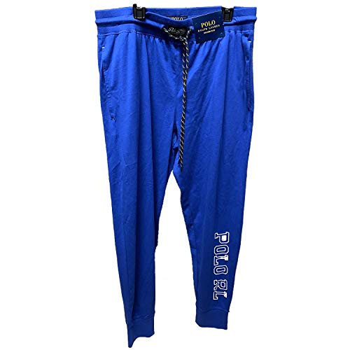 Polo Ralph Lauren Men's Jersey Jogger Pants (Medium, Blue Royal/White Polo Rl)