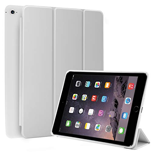 N NEWTOP Cover Compatibile per Apple iPad Air II 2 da 9.7' Pollici 2014, Custodia Flip Smart Libro Ori Case Ultra Sottile Leggera Stand Supporto Funzione Wake/Sleep Simil Pelle (Bianco)