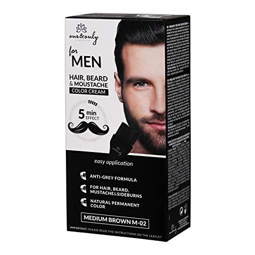 One&Only for Men - Crema de color para caballero, beard & sideburns, fórmula antigris, 5 minutos, sin amonias, sin parabenos, sin PPD, 60g, (MEDIUM BROWN)