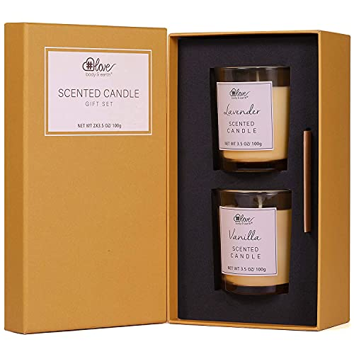 Scented Candles Set-Body&Earth Love Natural Soy Wax Aromatherapy Set, 2x3.5Oz Natural Essential...