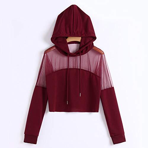 Avsvcb Frühling und Sommer europäischen und amerikanischen Stil Netz Baumwollnähte sexy Perspektive Kurze Kapuze Pullover Pullover Damen Hoodie