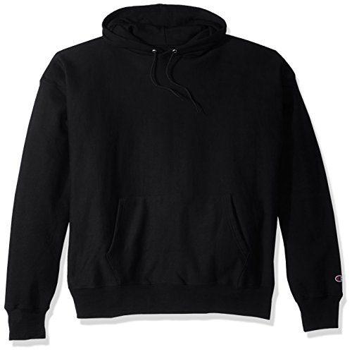 Champion Men's Men' Reverse Weave Fleece Pullover Hoodie, Black, Medium