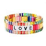 Pulsera de azulejos esmaltada, apilable, diseño de bloques de colores, para mujer, pulsera de 3 hebras
