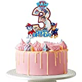 Dalaber Acrylic Paw Patrol Happy 3rd Birthday Cake Topper - Cartoon Theme Cute Dogs 3rd Birthday Cake Decoration, Celabrate Baby Shower Boys Birthday Party Decor Supplies