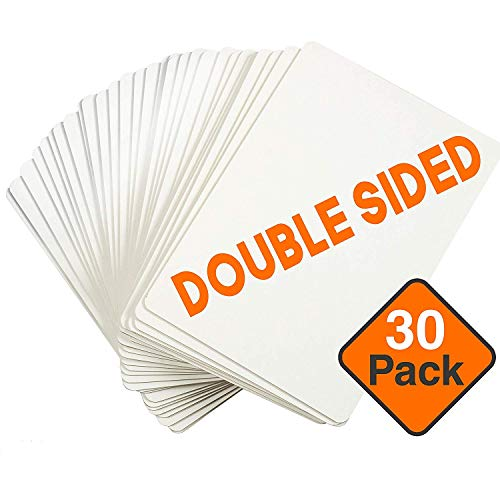 Dry Erase Boards [30pc Double Sided] Lapboards with ClearWipe Coating! Small White Boards - 9
